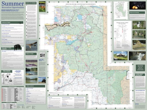Map of Summer Recreation Opportunities in Ashton-Island Park Ranger District in Caribou-Targhee National Forest (NF) in Idaho. Published by the U.S. Forest Service (USFS).