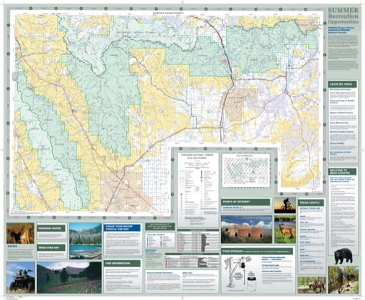 Map of Summer Recreation Opportunities in the Dubois Ranger District in Caribou-Targhee National Forest (NF) in Idaho. Published by the U.S. Forest Service (USFS).