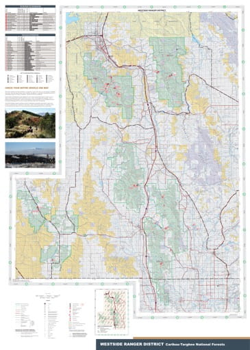 Recreation map of Westside Ranger District in Caribou-Targhee National Forest (NF) in Idaho. Published by the U.S. Forest Service (USFS).