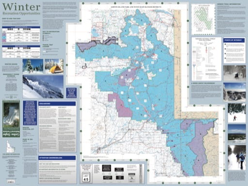 Map of Winter Recreation Opportunities in Ashton-Island Park and Teton Basin Ragner Districts (RD) in Caribou-Targhee National Forest (NF) in Idaho. Published by the U.S. Forest Service (USFS).