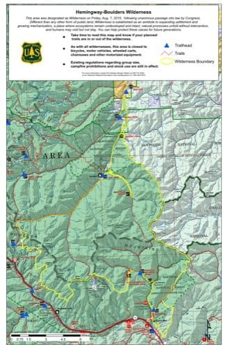 map of Hemingway-Boulders - Wilderness Map