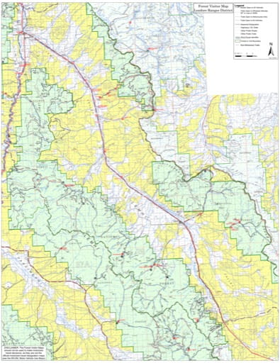 Visitor Map of Leadore Ranger District of Salmon-Challis National Forest (NF) in Idaho. Published by the U.S. Forest Service (USFS).