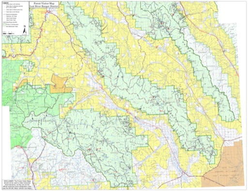 Visitor Map of Lost River Ranger District of Salmon-Challis National Forest (NF) in Idaho. Published by the U.S. Forest Service (USFS).