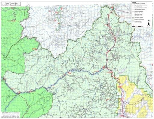 Visitor Map of North Fork Ranger District of Salmon-Challis National Forest (NF) in Idaho. Published by the U.S. Forest Service (USFS).