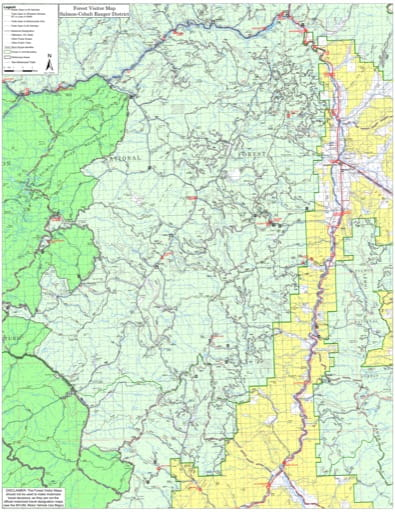 Visitor Map of Salmon-Cobalt Ranger District of Salmon-Challis National Forest (NF) in Idaho. Published by the U.S. Forest Service (USFS).