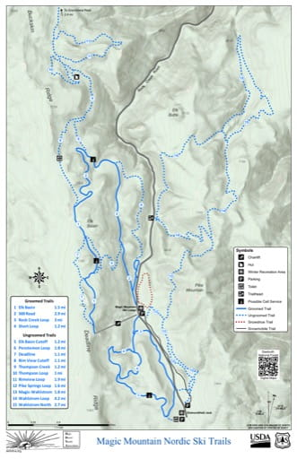 Map of Magic Mountain Nordic Ski Trails in Sawtooth National Forest (NF). Published by the U.S. Forest Service (USFS).