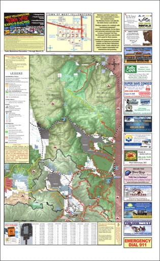 map of West Yellowstone - Snowmobile North