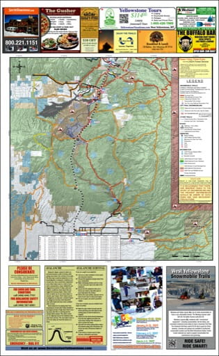 map of West Yellowstone - Snowmobile South