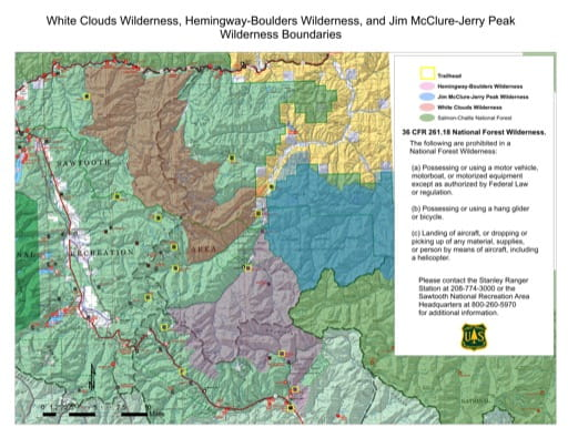Map of White Clouds Wilderness, Hemingway-Boulders Wilderness, and Jim McClure-Jerry Peak Wilderness Boundaries in Idaho. Published by the U.S. Forest Service (USFS).