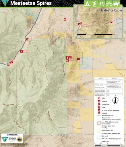 map of Meeteetse Spires