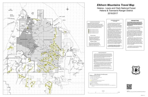 Motor Vehicle Use Map (MVUM) of Elkhorn Mountains in Helena & Townsend Ranger Districts in Helena-Lewis and Clark National Forest (NF). Published by the U.S. Forest Service (USFS).