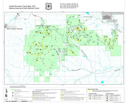 Motor Vehicle Use Map (MVUM) of Castle Mountains in Helena-Lewis and Clark National Forest (NF) published by the U.S. Forest Service (USFS).