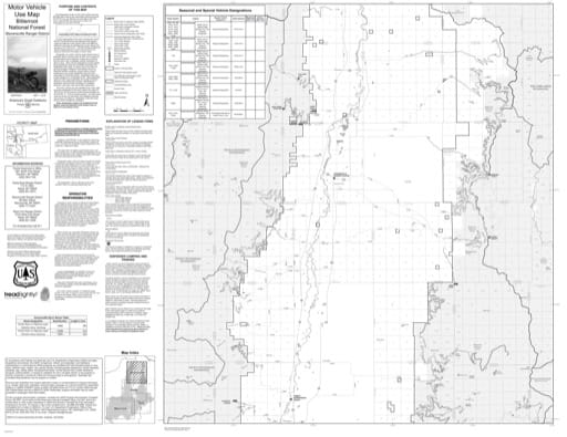 Motor Vehicle Use Map (MVUM) of Stevensville Ranger District in Bitterroot National Forest (NF). Published by the U.S. Forest Service (USFS).