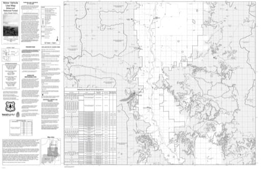 Motor Vehicle Use Map (MVUM) of Darby Ranger District in Bitterroot National Forest (NF). Published by the U.S. Forest Service (USFS).