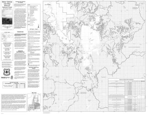 Motor Vehicle Use Map (MVUM) of Sula Ranger District in Bitterroot National Forest (NF). Published by the U.S. Forest Service (USFS).