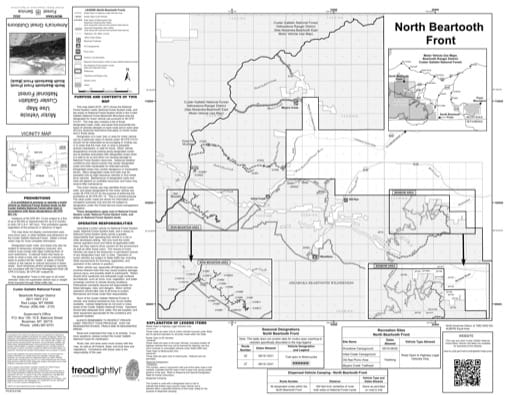 Motor Vehicle Use Map (MVUM) of Beartooth Front North in Custer Gallatin National Forest (NF). Published by the U.S. Forest Service (USFS).