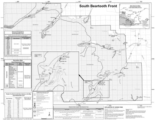Motor Vehicle Use Map (MVUM) of Beartooth Front South in Custer Gallatin National Forest (NF). Published by the U.S. Forest Service (USFS).