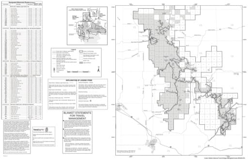 Motor Vehicle Use Map (MVUM) of Bridger and Bangtail Mountains in Custer Gallatin National Forest (NF). Published by the U.S. Forest Service (USFS).