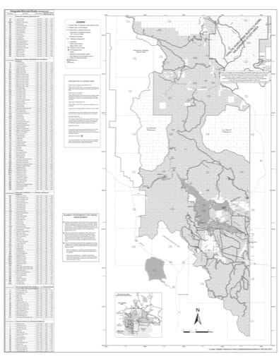 Motor Vehicle Use Map (MVUM) of Hebgen Lake Ranger District, Henry's Lake Range, Southern Madison Range in Custer Gallatin National Forest (NF) in Montana. Published by the U.S. Forest Service (USFS).