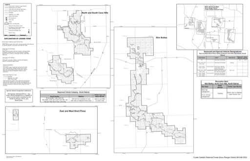Motor Vehicle Use Map (MVUM) of the South Dakota Units of Sioux Ranger District in Custer Gallatin National Forest (NF) in South Dakota. Published by the U.S. Forest Service (USFS).