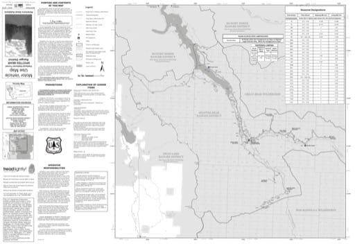 Motor Vehicle Use Map (MVUM) of Spotted Bear Ranger District in Flathead National Forest (NF). Published by the U.S. Forest Service (USFS).