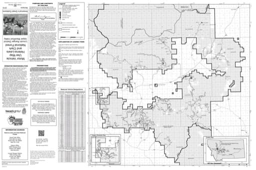 Motor Vehicle Use Map (MVUM) of Lincoln Ranger District and Upper Blackfoot Valley in Helena-Lewis and Clark National Forest (NF). Published by the U.S. Forest Service (USFS).
