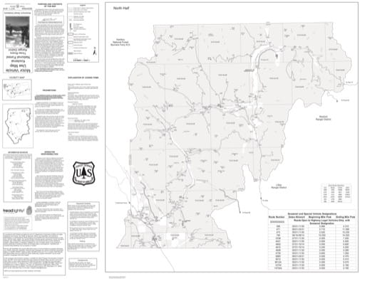 Motor Vehicle Use Map (MVUM) of the Northern part of Three Rivers Ranger District in Kootenai National Forest (NF). Published by the U.S. Forest Service (USFS).