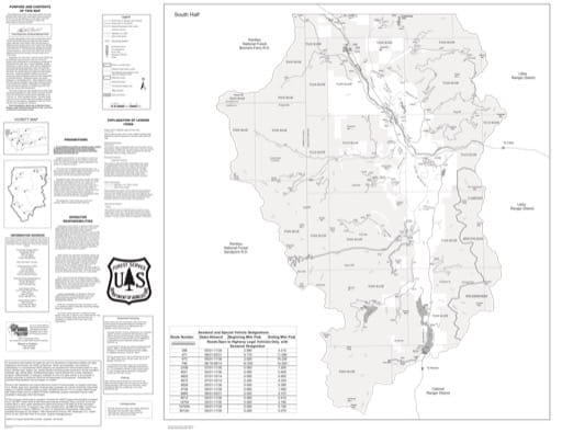 Motor Vehicle Use Map (MVUM) of the Southern part of Three Rivers Ranger District in Kootenai National Forest (NF). Published by the U.S. Forest Service (USFS).