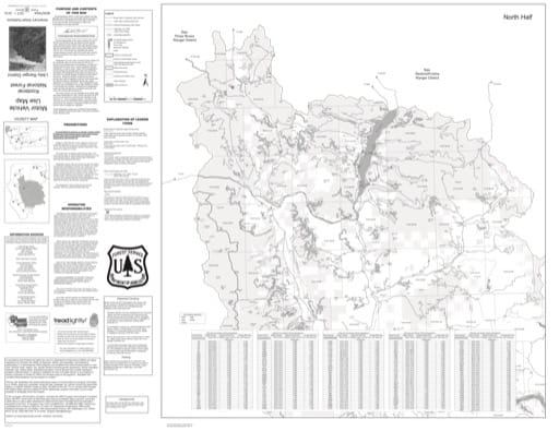 Motor Vehicle Use Map (MVUM) of the Northern part of Libby Ranger District in Kootenai National Forest (NF). Published by the U.S. Forest Service (USFS).
