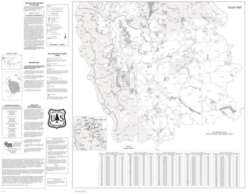 Motor Vehicle Use Map (MVUM) of the Southern part of Libby Ranger District in Kootenai National Forest (NF). Published by the U.S. Forest Service (USFS).