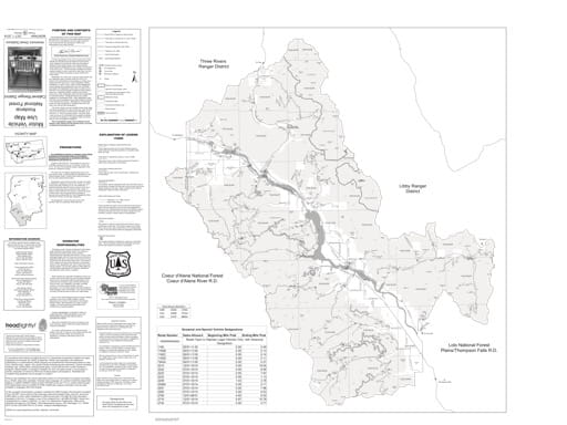 Motor Vehicle Use Map (MVUM) of Cabinet Ranger District in Kootenai National Forest (NF). Published by the U.S. Forest Service (USFS).