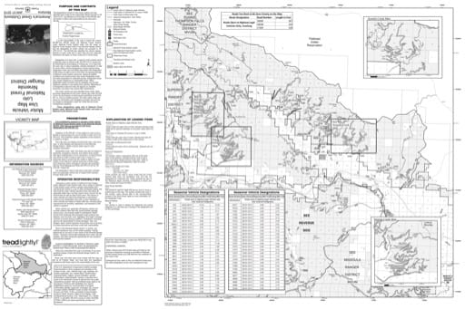 Motor Vehicle Use Map (MVUM) of Ninemile Ranger District North in Lolo National Forest (NF). Published by the U.S. Forest Service (USFS).