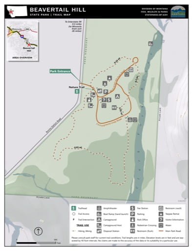 Map of the Trail System in Beavertail Hill State Park (SP). Published by Montana State Parks.