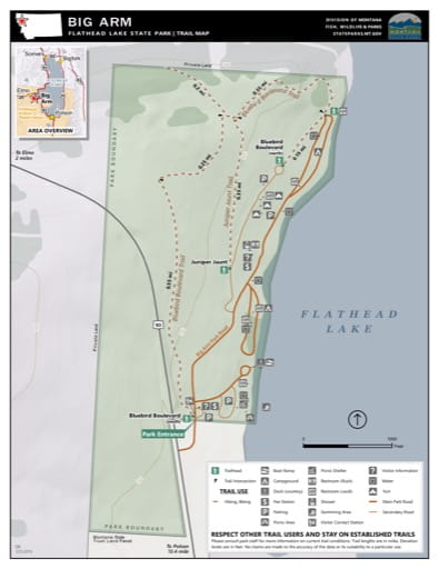 Map of the Trail System in Big Arm / Flathead Lake State Park (SP). Published by Montana State Parks.