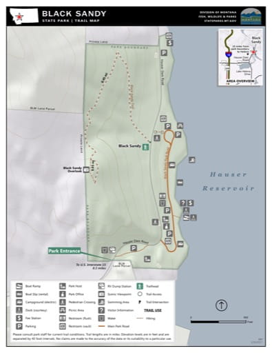 Map of the Trail System in Black Sandy State Park (SP). Published by Montana State Parks.