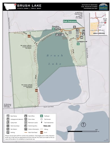 Map of the Trail System in Brush Lake State Park (SP). Published by Montana State Parks.