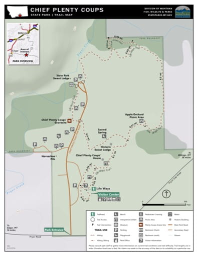 Map of the Trail System in Chief Plenty Coups State Park (SP). Published by Montana State Parks.