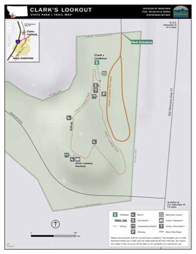 Map of the Trail System in Clark's Lookout State Park (SP). Published by Montana State Parks.