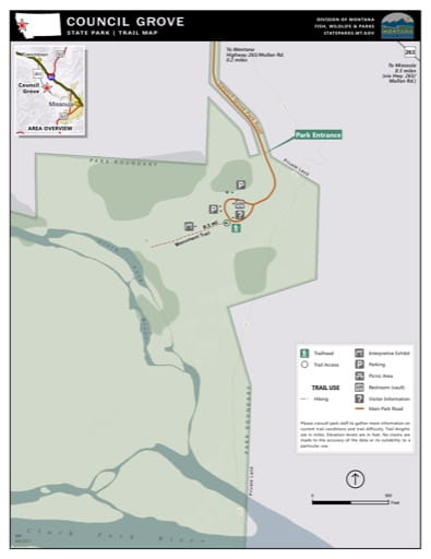Map of the Trail System in Council Grove State Park (SP). Published by Montana State Parks.