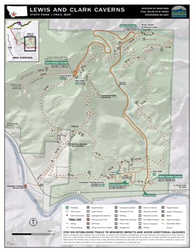 Map of the Trail System in Lewis & Clark Caverns State Park (SP). Published by Montana State Parks.