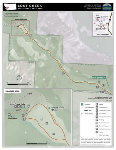 Map of the Trail System in Lost Creek State Park (SP). Published by Montana State Parks.