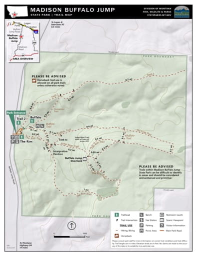 Map of the Trail System in Madison Buffalo Jump State Park (SP). Published by Montana State Parks.