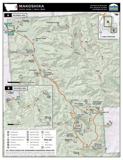 Map of the Trail System in Makoshika State Park (SP). Published by Montana State Parks.