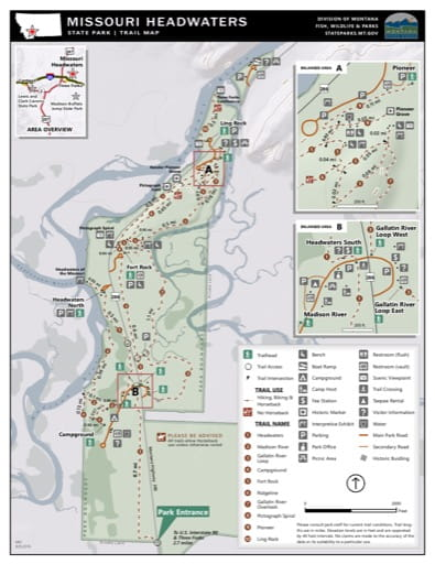 Map of the Trail System in Missouri Headwaters State Park (SP). Published by Montana State Parks.