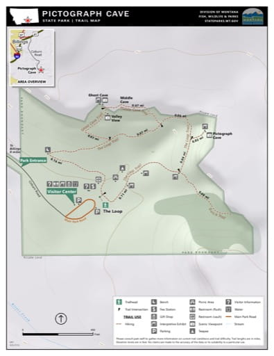 Map of the Trail System in Pictograph State Park (SP). Published by Montana State Parks.