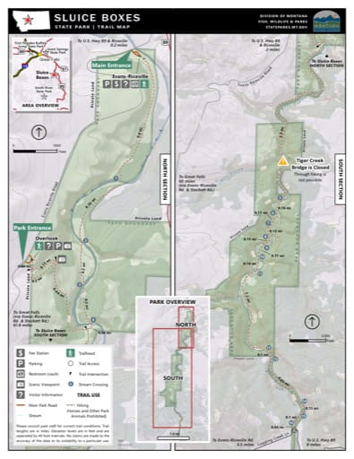 Map of the Trail System in Sluice Boxes State Park (SP). Published by Montana State Parks.