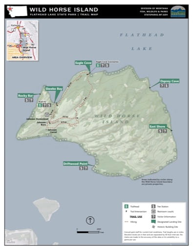 Map of the Trail System in Wild Horse Island / Flathead Lake State Park (SP). Published by Montana State Parks.