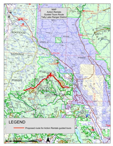 Recreation Map showing Guided Tours Routes in Tally Lake Ranger District in Flathead National Forest (NF) in Montana. Published by the U.S. Forest Service (USFS).