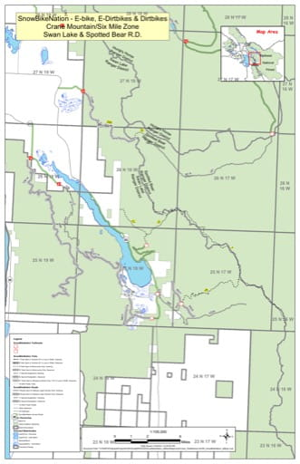 Trails Map of SnowBikeNation - E-bike, E-Dirtbikes & Dirtbikes in the Crane Mountain/Six Mile Zone in Swan Lake and Spotted Bear Ranger Districts in Flathead National Forest (NF) in Montana. Published by the U.S. Forest Service (USFS).