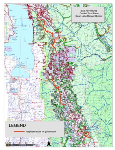 Trails Map of Bike Adventures Guided Tours in Swan Lake Ranger District in Flathead National Forest (NF) in Montana. Published by the U.S. Forest Service (USFS).